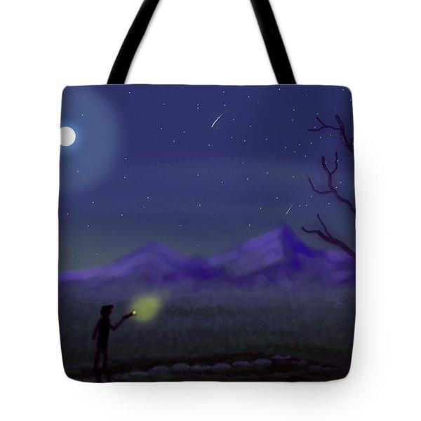 Watching Shooting Stars Tote Bag