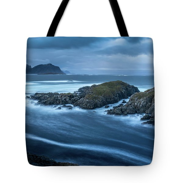 Water Flow At Stormy Sea Tote Bag