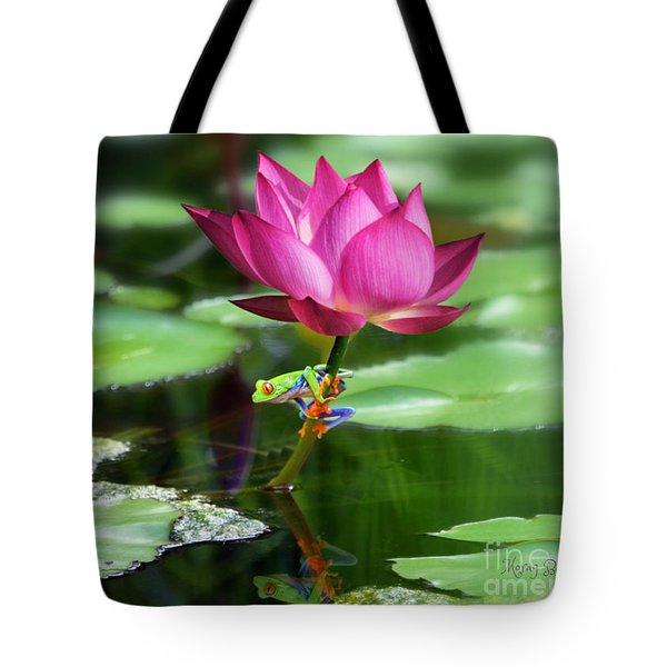 Water Lily And Little Frog Tote Bag