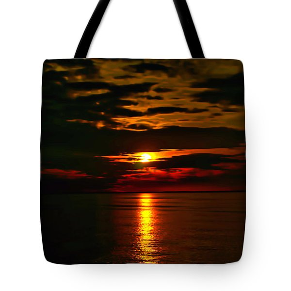 Tote Bag featuring the photograph Water Sunset Clouds by Meta Gatschenberger