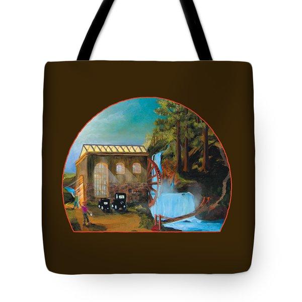 Water Wheel Overlay Tote Bag