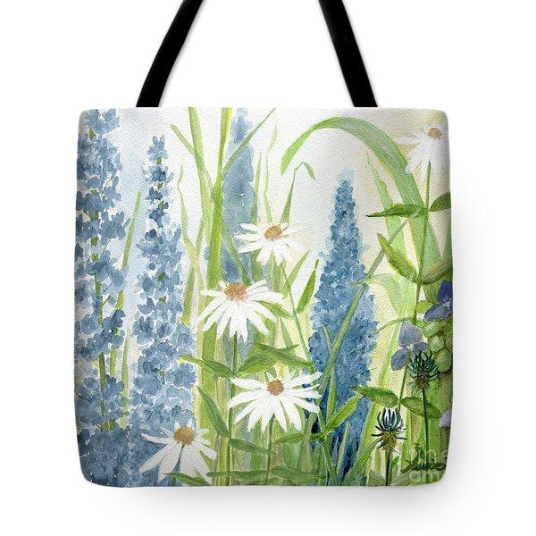 Watercolor Blue Flowers Tote Bag