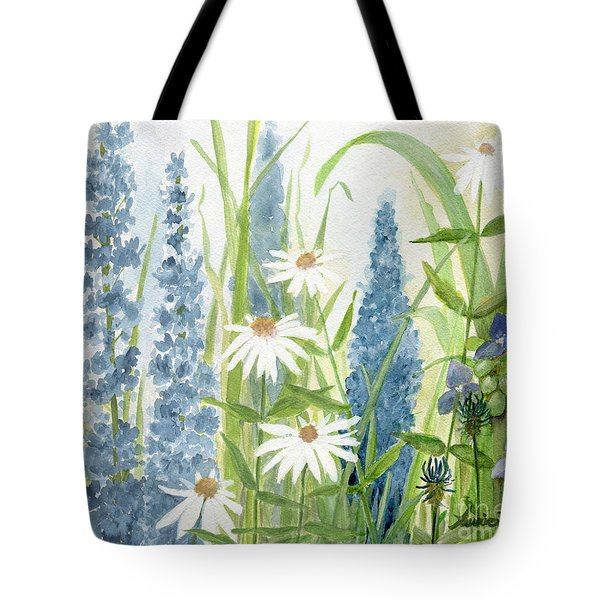 Watercolor Blue Flowers Tote Bag