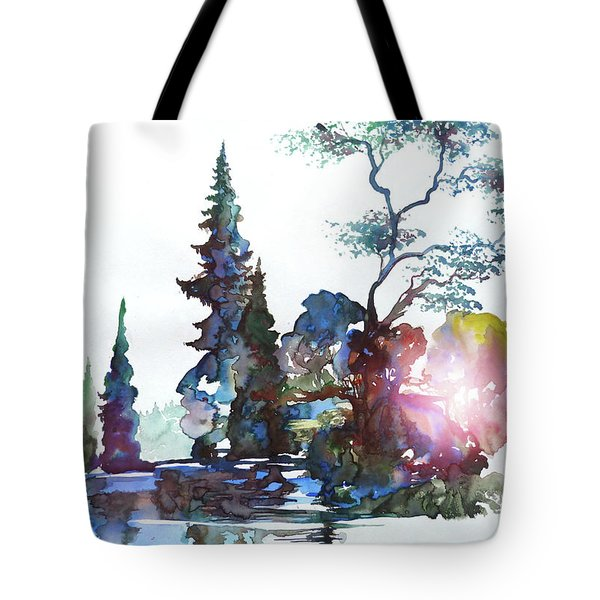 Watercolor Forest And Pond Tote Bag