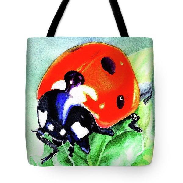 Watercolor Ladybug Tote Bag