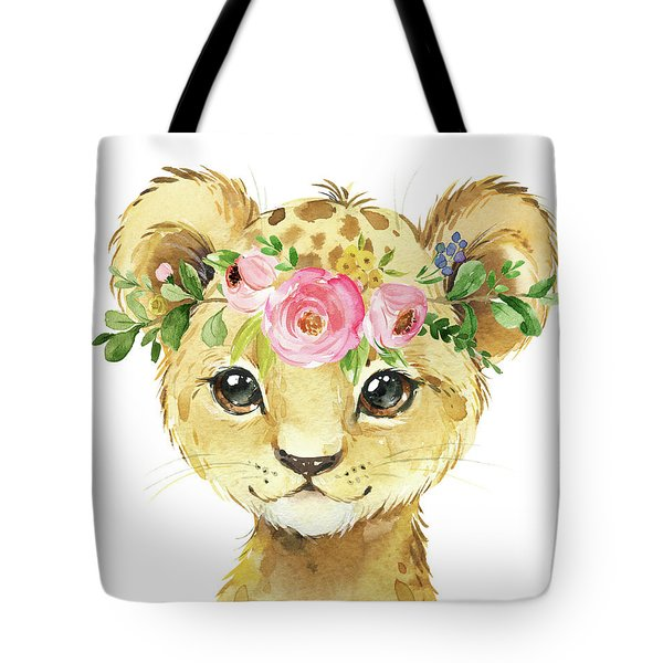 Watercolor Lion Leopard Zoo Animal Safari Art Print Tote Bag