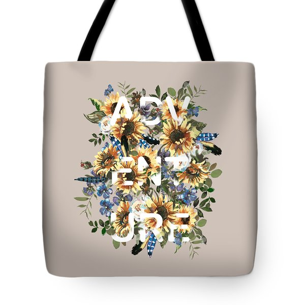Tote Bag featuring the painting Watercolour Sunflowers Adventure Typography by Georgeta Blanaru