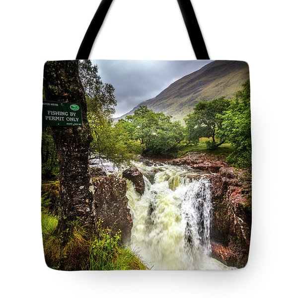 Waterfall At The Ben Nevis Mountain Tote Bag
