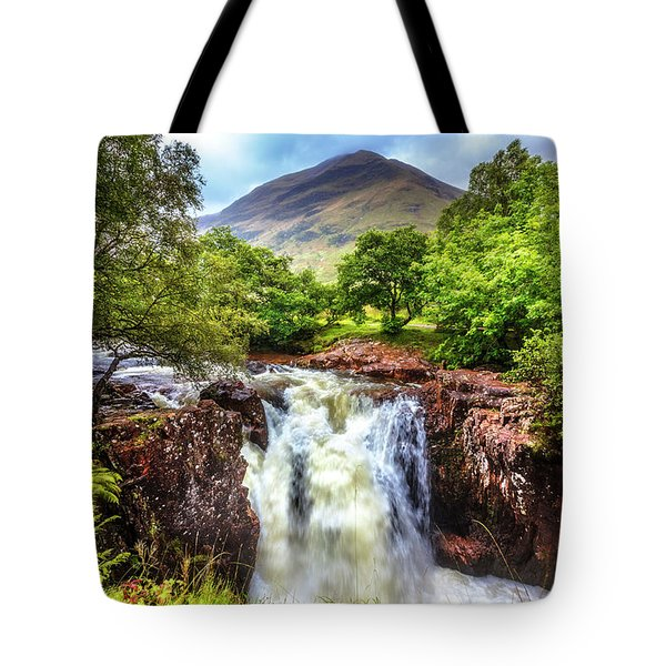Waterfall Beneath The Ben Nevis Mountain Tote Bag