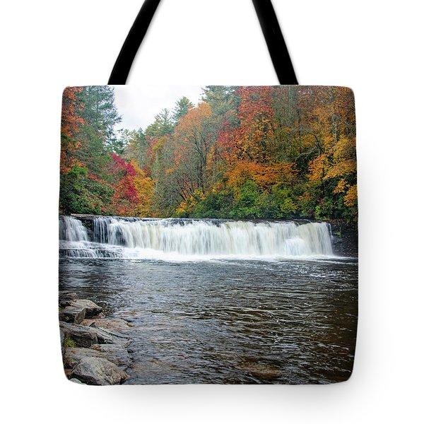 Waterfall In Autumn Tote Bag