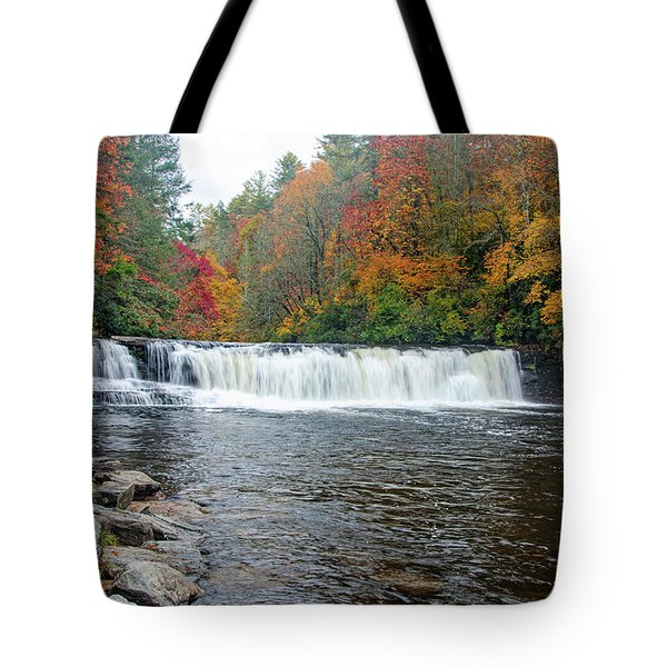 Tote Bag featuring the photograph Waterfall In Autumn by Claire Turner