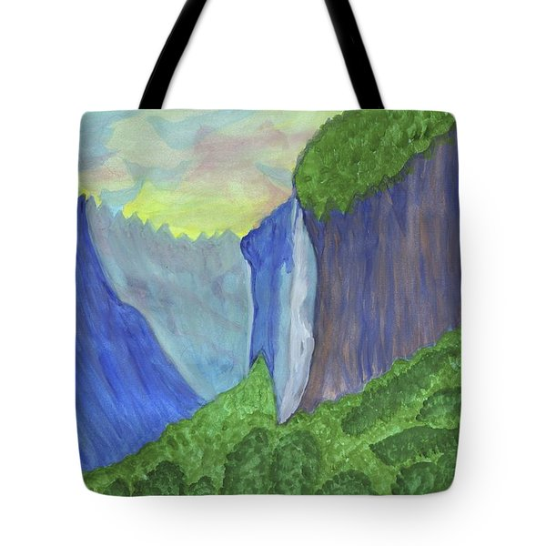 Tote Bag featuring the painting Waterfall In The Mountains by Dobrotsvet Art