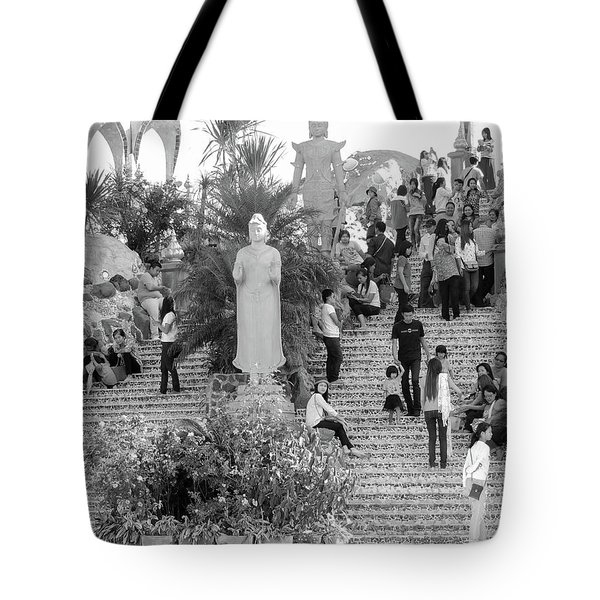 Tote Bag featuring the photograph Waterfall Of People by Jeremy Holton