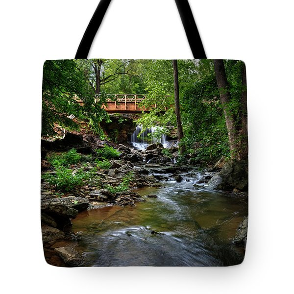 Tote Bag featuring the photograph Waterfall With Wooden Bridge by Joe Sparks