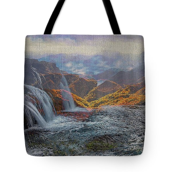 Waterfalls In The Mountains Tote Bag