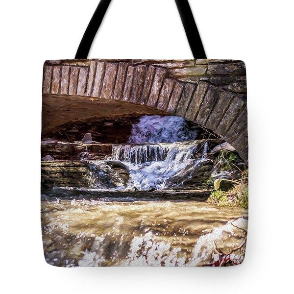 Waterfalls Through Stone Bridge Tote Bag