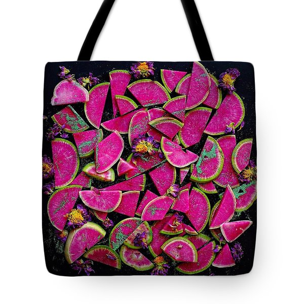 Watermelon Radish Edges Tote Bag
