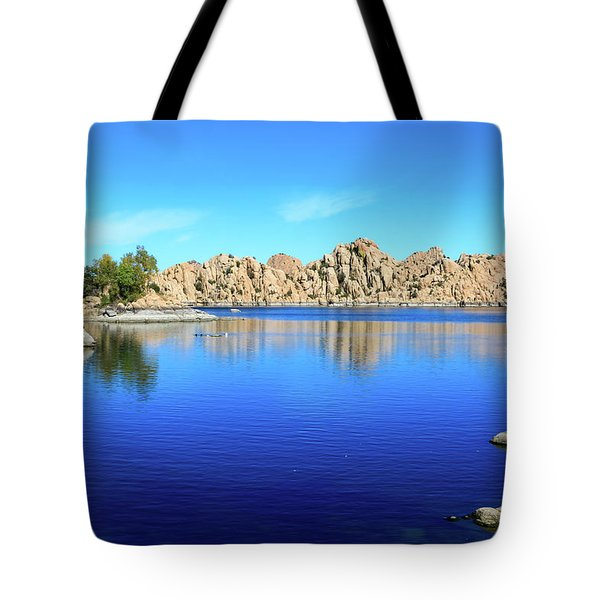 Watson Lake And Rock Formations Tote Bag