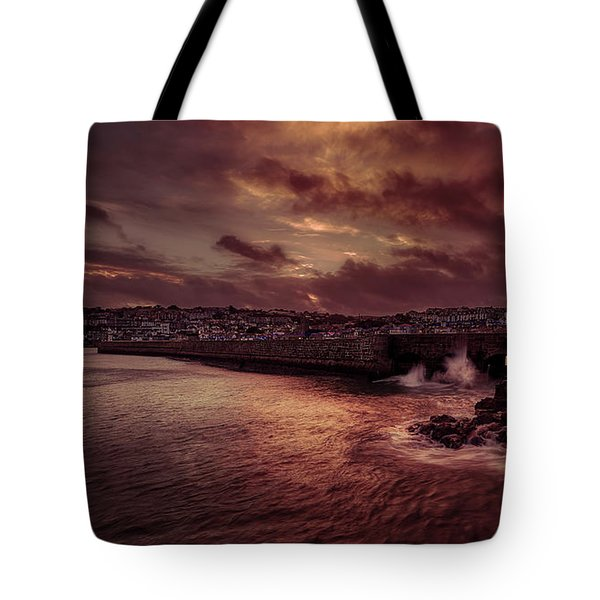 Wave At The Pier Tote Bag