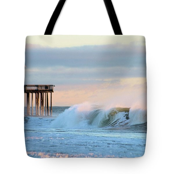 Tote Bag featuring the photograph Waves At The Inlet Beach by Robert Banach