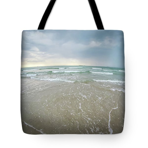 Tote Bag featuring the photograph Waves Crashing On Wrightsville Beach Before The Storm by Alex Grichenko