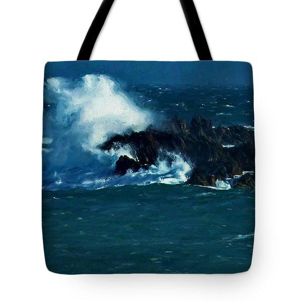 Waves On The Rocks Tote Bag