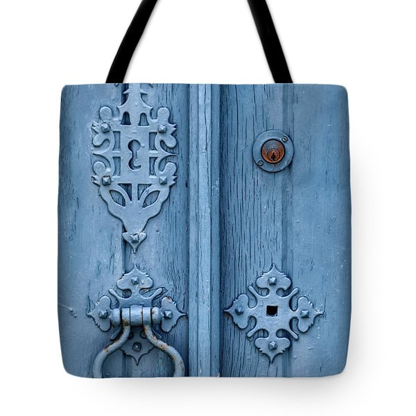 Tote Bag featuring the photograph Weathered Blue Door Lock by David Letts