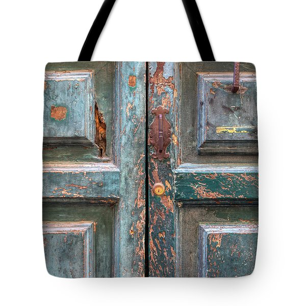 Tote Bag featuring the photograph Weathered Rustic Green Door Of Cortona by David Letts