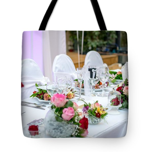 Tote Bag featuring the photograph Wedding Table by Top Wallpapers
