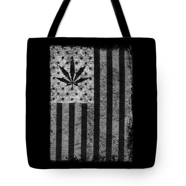 Weed Leaf American Flag Us Tote Bag