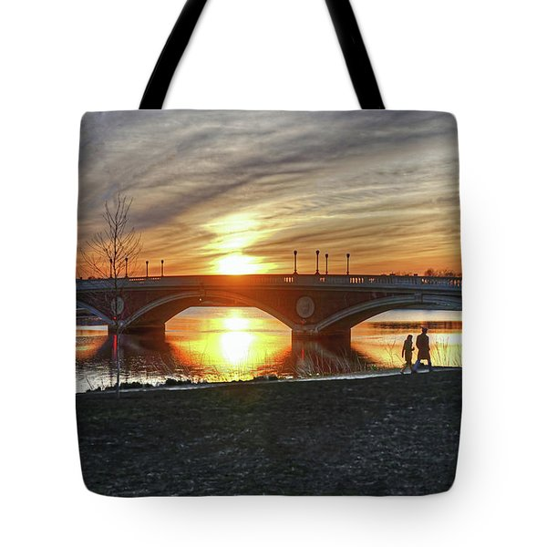 Tote Bag featuring the photograph Weeks Bridge At Sunset by Wayne Marshall Chase