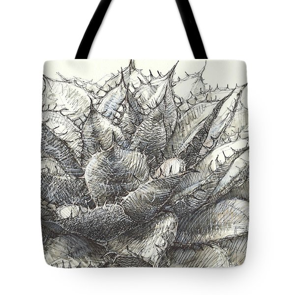 Tote Bag featuring the painting Whale Tongue Agave by Judith Kunzle