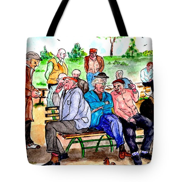 When Park Benches Were Filled With People Tote Bag
