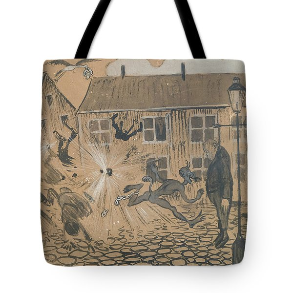 Tote Bag featuring the drawing When The Beast Is Loose by Ivar Arosenius