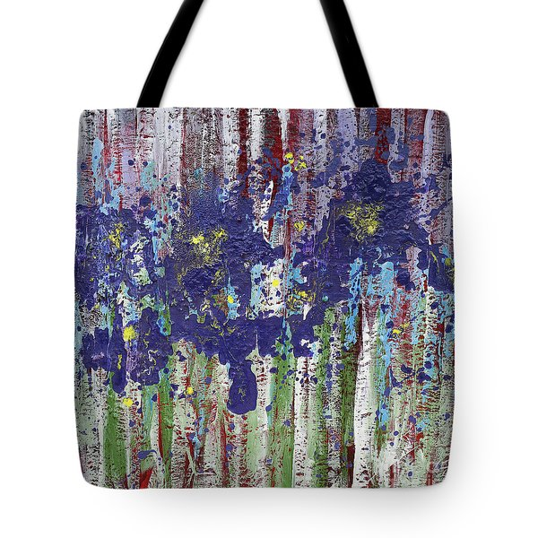 Tote Bag featuring the painting Where Purple Dragons Play by Annie Young Arts