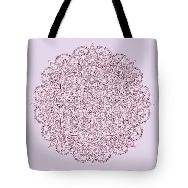 Tote Bag featuring the digital art Whimsical Burgundy Mandala by Georgeta Blanaru