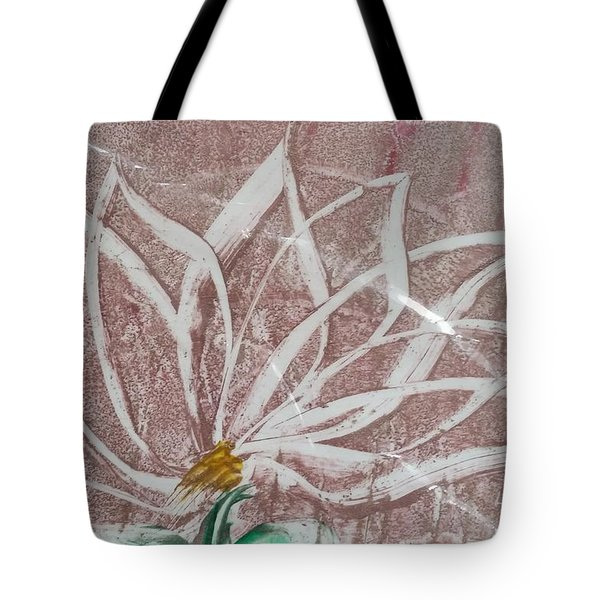 White Abstract Floral On Silverpastel Pink Tote Bag