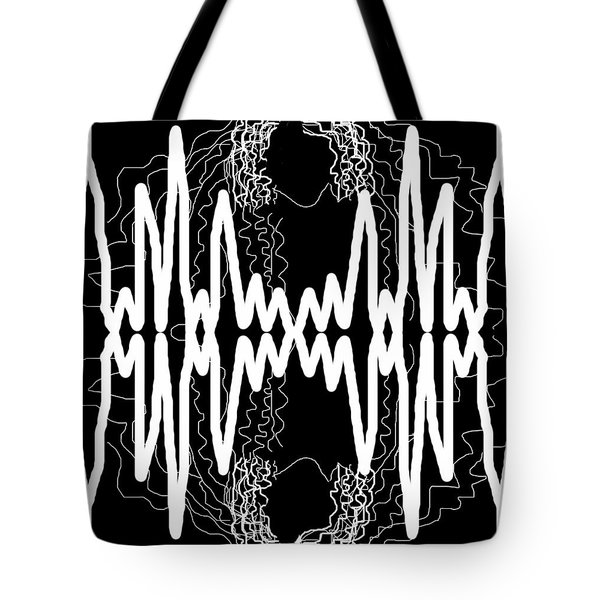 White And Black Frequency Mirror Tote Bag