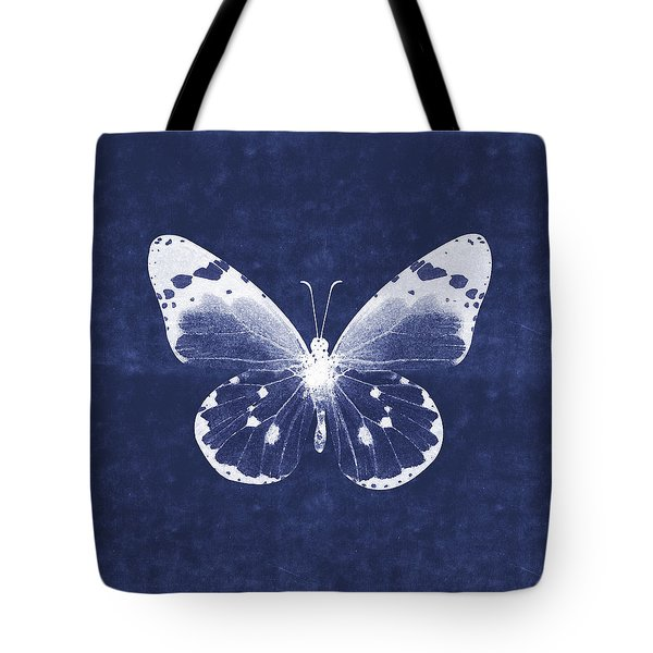 White And Indigo Butterfly 1- Art By Linda Woods Tote Bag