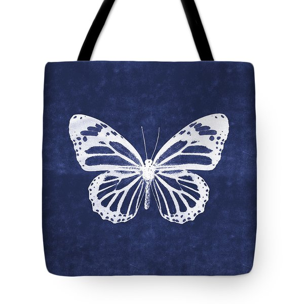White And Indigo Butterfly 3- Art By Linda Woods Tote Bag