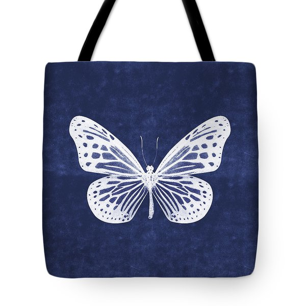 White And Indigo Butterfly- Art By Linda Woods Tote Bag