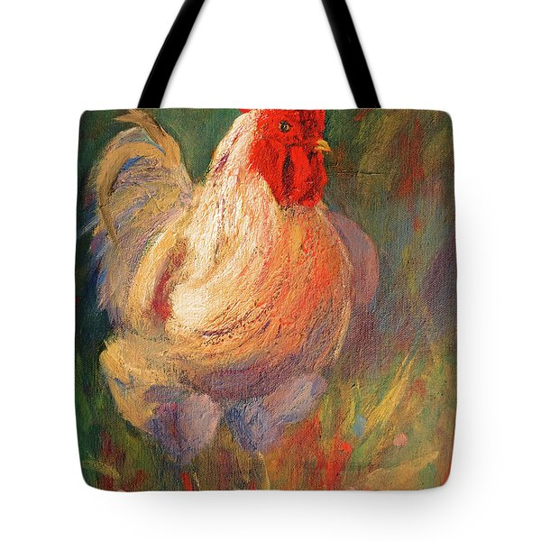 White And Red Chicken Against Green Tote Bag