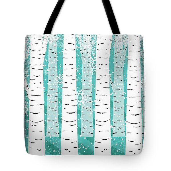 White Birch And Snow Tote Bag