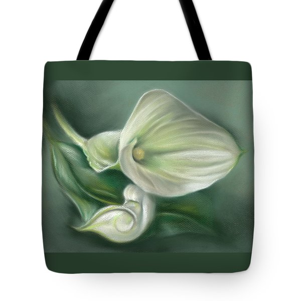 White Callas With Leaf Tote Bag