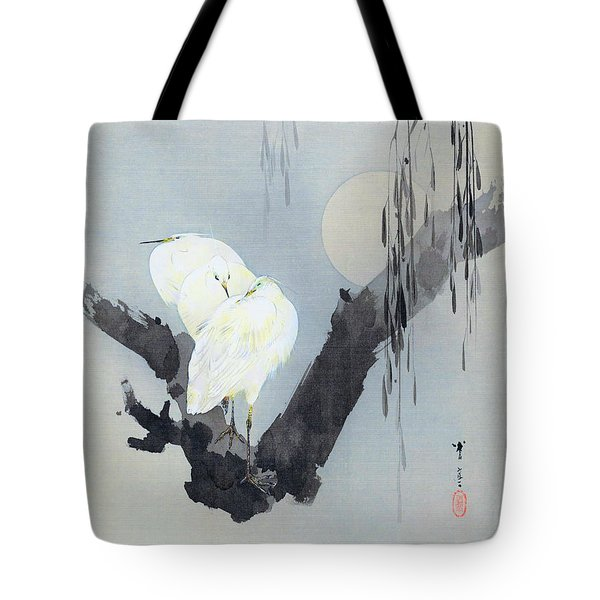 White Egret And Moon - Digital Remastered Edition Tote Bag