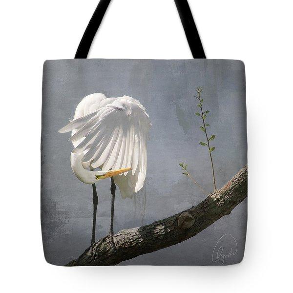 White Egret Tote Bag