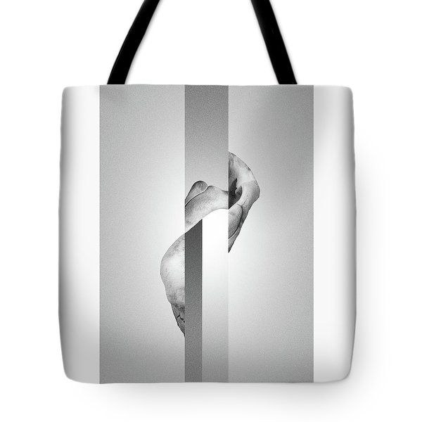 White Endobrume - Surreal Abstract Elephant Bone Collage With Rectangles Tote Bag