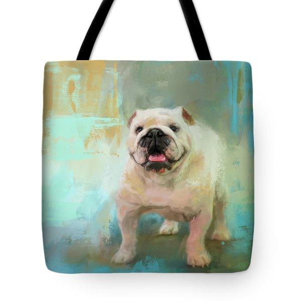 Tote Bag featuring the painting White English Bulldog by Jai Johnson