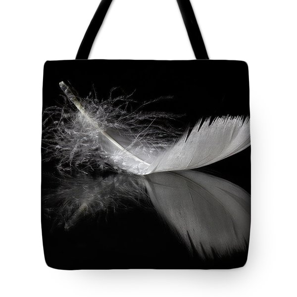 White Feather Reflection Tote Bag