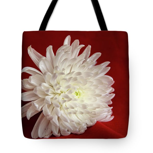 White Flower On Red-1 Tote Bag